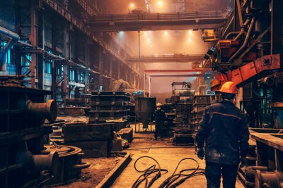 Naklejka Industrial interior metallurgical factory foundry inside, heavy industry, large workshop metalwork manufacturing, iron casting in molds.
