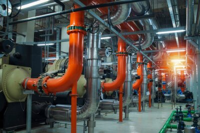 Naklejka industrial pipes and valves