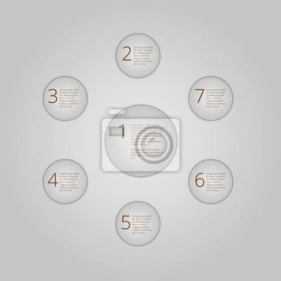 Infografika z numerami i tekstu. siedem koła prezentacji