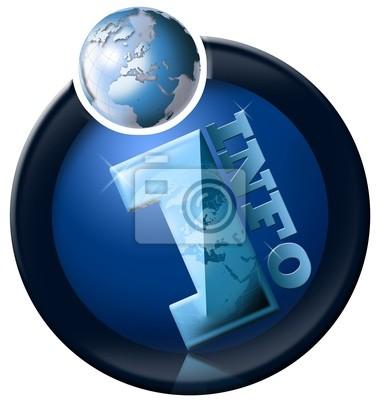 Informacje ikona z niebieskim kuli ziemskiej i pisemnej informacji
