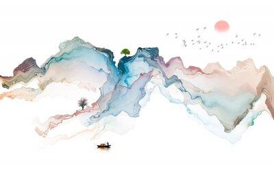 Naklejka Ink landscape decoration illustration abstract line poster background