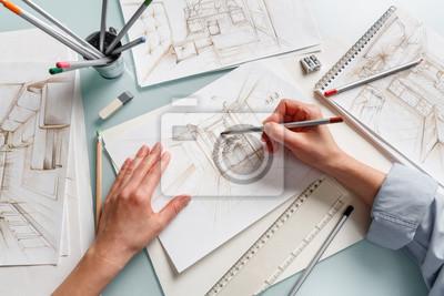 Naklejka Interior designer making hand drawing pencil sketch of a bathroom