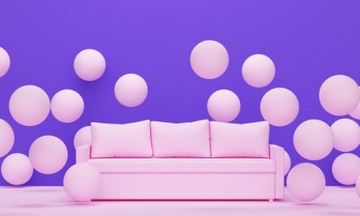 Interior with sofa and flying pink spheres. 3d rendering