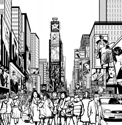 Naklejka Interpretacja Times Square w Nowym Jorku