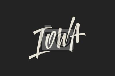 Iowa Stany Zjednoczone Słowo Logo Logo Ręcznie malowane Szczotka Szablon Logo Kaligrafii