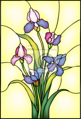 Naklejka Iris kwiaty bukiet, ilustracji wektorowych w stylu okna witraży