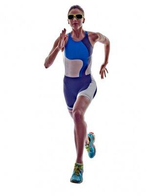 Naklejka ironman triathlon kobieta biegacz sportowiec