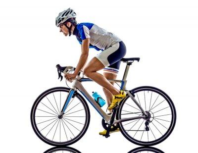 Naklejka ironman triathlon sportowiec kobieta na rowerze rowerzysta
