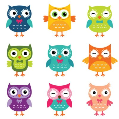 Naklejka Isolated cartoon owls collection