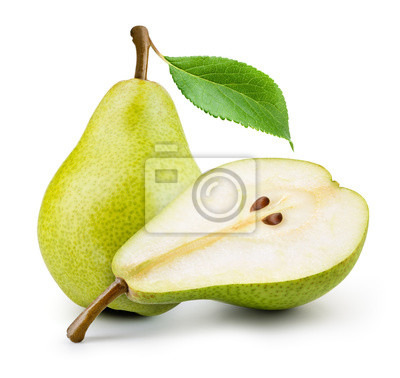 Naklejka Isolated pears. One and a half green pear fruit isolated on white background.