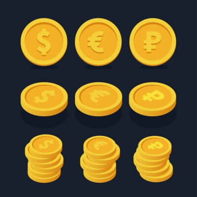 Isometric Flat Currency Coin Stack. Dollar, Ruble, Euro. Cash Money Savings Finance.