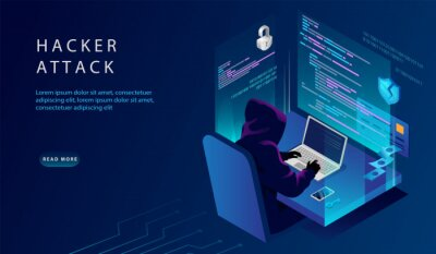 Naklejka Isometric Internet And Personal Data Hacker Attack Concept. Website Landing Page. The Hacker at The Computer Trying To Hack Security. Credit Card, Bank Account Hacking. Web Page Vector Illustration