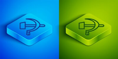 Isometric line Hammer and sickle USSR icon isolated on blue and green background. Symbol Soviet Union. Square button. Vector.
