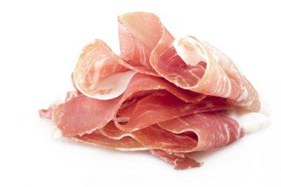 Naklejka Italian prosciutto crudo ,raw ham leg sliced on white