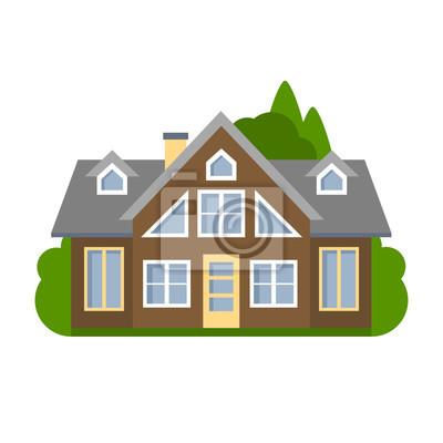 Izolowane brązowy dom. Proste podmiejskiego domu. Pojęcie nieruchomości, nieruchomości i własności.