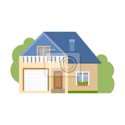 Izolowane cartoon dom. Proste podmiejski dom z garażem. Pojęcie nieruchomości, nieruchomości i własności.