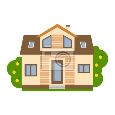 Izolowane cartoon dom. Proste podmiejskiego domu. Pojęcie nieruchomości, nieruchomości i własności.