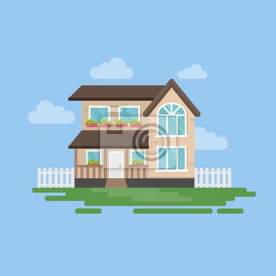 Izolowane dom illustartion. Na zewnątrz z chmur, trawy i ogrodzenia. Prosty dom z kreskówek.