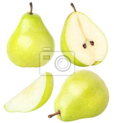Naklejka Izolowane gruszek. Kolekcja całe i krojone gruszka owoce z liśćmi na białym tle z wycinek ścieżki