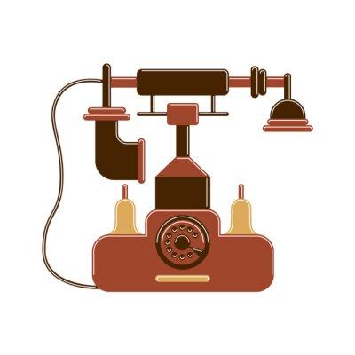 Izolowane telefonu retro z koła i oddzielnego odbiornika. Vintage dekoracji wnętrz.