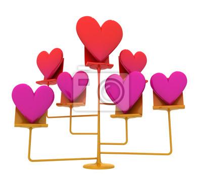 izolowane złoty stojak z różowym czerwonych serc