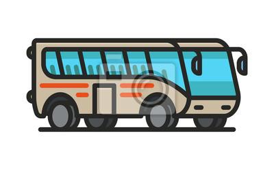 Izometryczny autobus turystyczny Minimalna linia płaskiej linii konspektu Ikona skoku ikona Piktogram