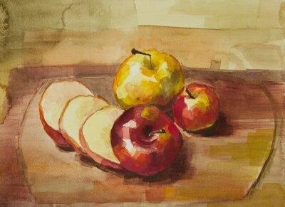 Naklejka Jabłka na pokładzie cięcia wciąż życie akwarela malowanie