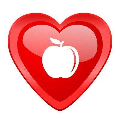 Naklejka jabłko czerwone serce Valentine błyszczący web icon
