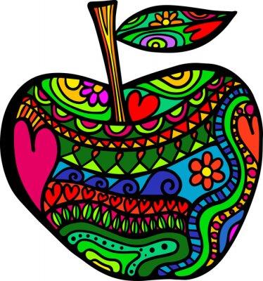 Naklejka Jabłko Doodle