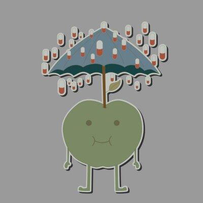 Naklejka jabłko z parasolem i deszczem tabletek