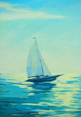 Naklejka Jacht z żaglem w porannym morzem Śródziemnym, malowanie