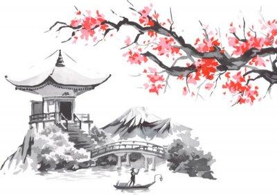 Naklejka Japan traditional sumi-e painting. Fuji mountain, sakura, sunset. Japan sun. Indian ink vector illustration. Japanese picture.