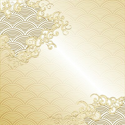 Naklejka Japanese Cloud background with wave pattern vector. Gold Japanese line template.
