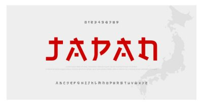 Naklejka Japanese modern style alphabet font typeface. Typography japan asian fonts and number. English letters uppercase and numbers. Vector Illustration