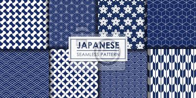Naklejka Japanese seamless pattern collection, Decorative wallpaper.