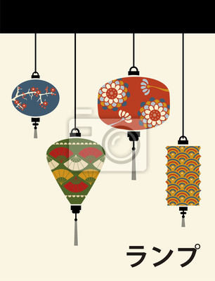 Naklejka Japonia lampy tle