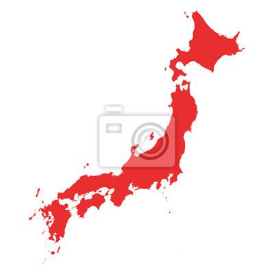 Naklejka Japonia wektorowa mapa na białym tle