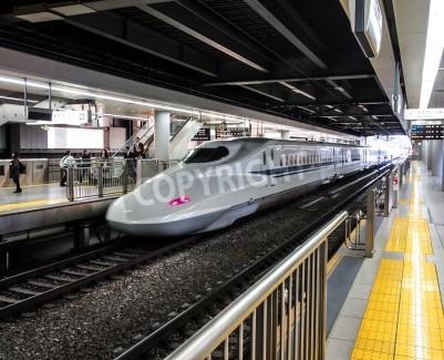 Naklejka Japonia wysoka prędkość pociągu lub na stacji Shinkansen w Tokio, Japonia