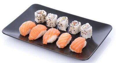 Naklejka Japoński zestaw sushi na czarnej płycie