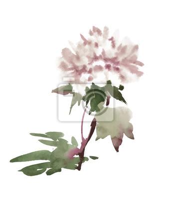 Jaskrawa piękna kwiecista ilustracja, bajka kwiaty i liście na białym tle.