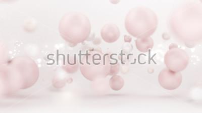Naklejka Jaskrawy biały tło z balonami. Ilustracja 3D, renderowania 3d.