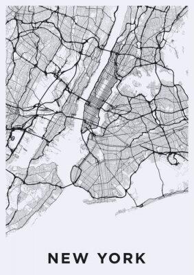 Naklejka Jasna mapa Nowego Jorku. Mapa drogowa Nowego Jorku (Stany Zjednoczone). Czarno-biała (jasna) ilustracja ulic Nowego Jorku. Sieć transportowa Big Apple. Format plakatu do druku (portret).