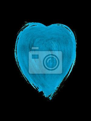 Jasne niebieskie serce akwarela. Element projektu na Walentynki.