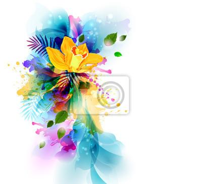 Jasne t? Oz? Ó? Tym orchidea kwiaty na artystycznych blots abstrakcyjna.