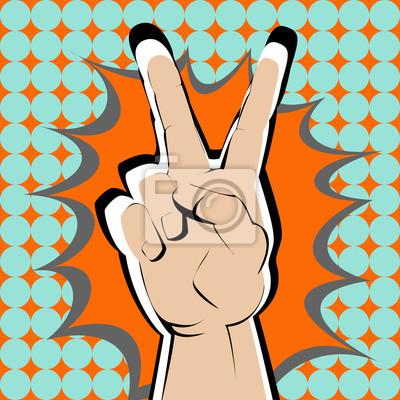 Jasny dłoń na pomarańczowy powitalny v znak.