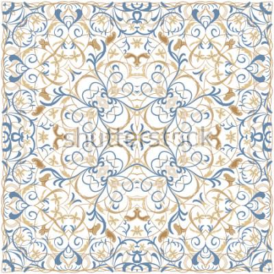 Naklejka Jasny kolor wzór w stylu orientalnym. Kwadratowy ornament na szale, chusty lub poduszkę. Może być używany do drukowania na tkaninie lub papierze. Ilustracji wektorowych.