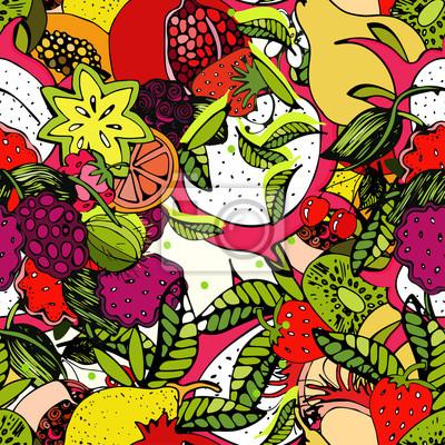 Jasny, kolorowy wzór z świeżych owoców