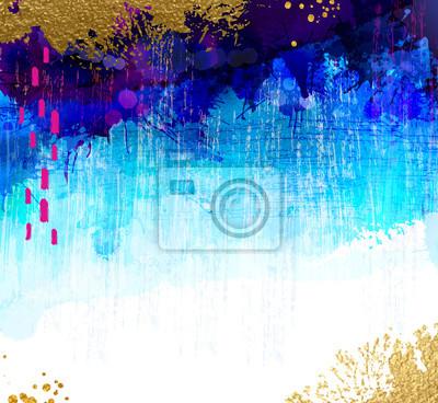 Jasny kontrast złota, cyjan i niebieskie plamy akwarela na tle grunge. Streszczenie wektor kompozycji do kreatywnego projektowania.