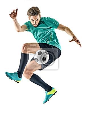 jeden kaukaski gracz piłki nożnej jungling na białym tle
