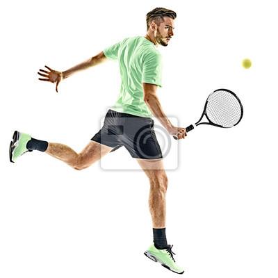 jeden kaukaski mężczyzna gra w tenisa na białym tle